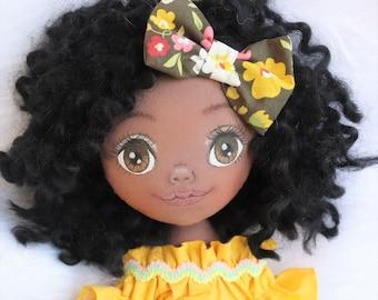 Dark skin doll, rag doll, cloth doll, black  curly hair, birthday gift, girl gift