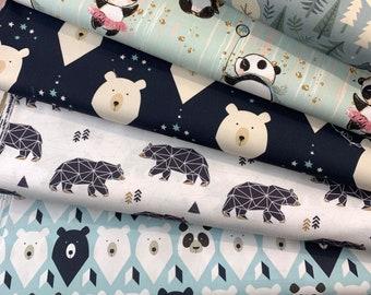 Bear Cotton Fabric / Panda / Teddy Bear / Polar Bear Fabric Premium Quality  HALF METER Width 155cm