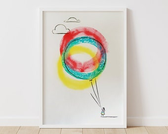 Girl with 3 Balloons - Original Ink Illustration - 42x60cm - A2 Large Poster Size - Unframed