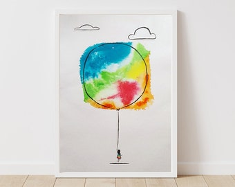 Girl with a Balloon - Original Ink Illustration - 42x60cm - A2 Large Poster Size - Unframed