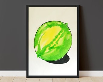 Ink Lime Original Painting - 42x50cm - A2 Large Poster Size - Unframed