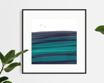 Minimalist Ocean - Giclée Fine Art Print of a Digital Painting - Unframed
