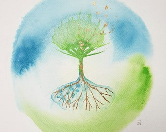 Tree of Life - Original Ink Painting with Gold Leaf - Unframed