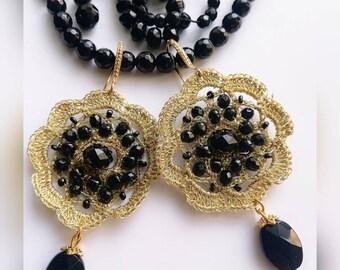 Watermark and hard stone earrings