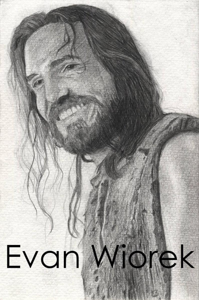 Jesus laughing pencil drawn portrait art print