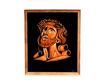 Vintage Jesus Velvet Painting | 33 Inches by 28 Inches | Large Painting | Jesus Christ | Kitschy Artwork | Anco Bilt | Free Shipping