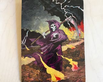 "Original Art ""Reaper with Burning Village"" Acrylic Painting on Masonite"
