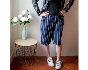 Vintage striped Long shorts