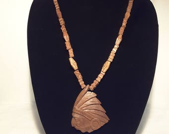 Wood Chief Head Necklace