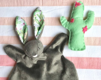 Spike - Bunny baby comforter in charcoal with cactus print ears