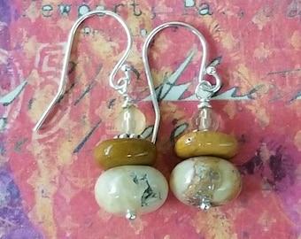 Jasper stacked Boho earrings. Mookaite Jasper in muted reds of the desert and swirled caramel.