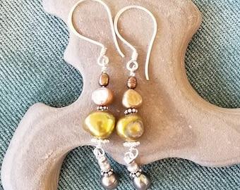 Dangle Pearl Earrings.  4 stacked Freshwater Pearl's and Sterling silver Bali beads - Boho Pearl earrings