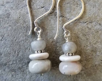 Mookaite Natural Jasper stacked earrings -Cloud Grey -  Bali Silver Daisy Spacer - Strung on Sterling Silver ear wire - Handcrafted USA.