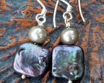 Blue Coin Pearl Earrings - Square Pearl Earrings -Coin Pearl Earrings