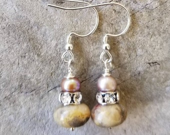 Jasper, Swarovski crystal rondelle and Pearl stacked earrings.  Neutral color.  Goes with anything!