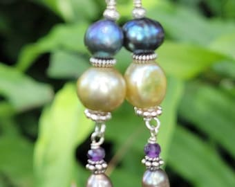 Boho Stacked Pearl Earrings- Dangling Blue & Green Iridescent Pearls, and Bali Fine Silver Dancing Earrings.  Boho Chic