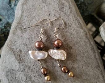 Freshwater Pearl stacked earrings