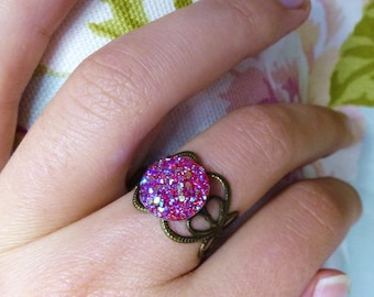 """Pink brass fairy ring""""pink Adjustable ring / brass/bright pink ring"""