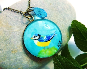 """Chickadee"" necklace mini painting bird, cute, blue, bohemian necklace, Crystal, antiqued bronze"