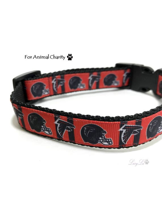 """Collier de chien de faucons Atlanta pour animale charité - NFL, Football, rouge et noir, ajustable, en Nylon et ruban, convient à 10""""- 15"""", 3/4» large, petit"""