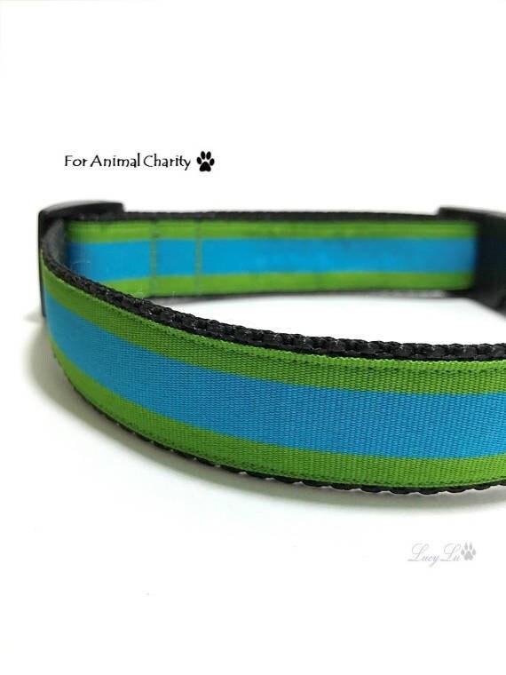 Collier de chien rayé de vert et bleu pour la charité Animal - Aqua bleu, réglable en Nylon et ruban, s'adapte à 13-20», 1 «large, Medium