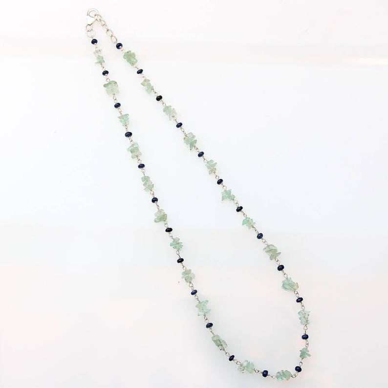 UnCut Natural Emerald Beads Natural Blue Sapphire Sterling Silver Chain Necklace 16 Gift BLUE SAPPHIRE EMERALD Gemstones Beads Necklace