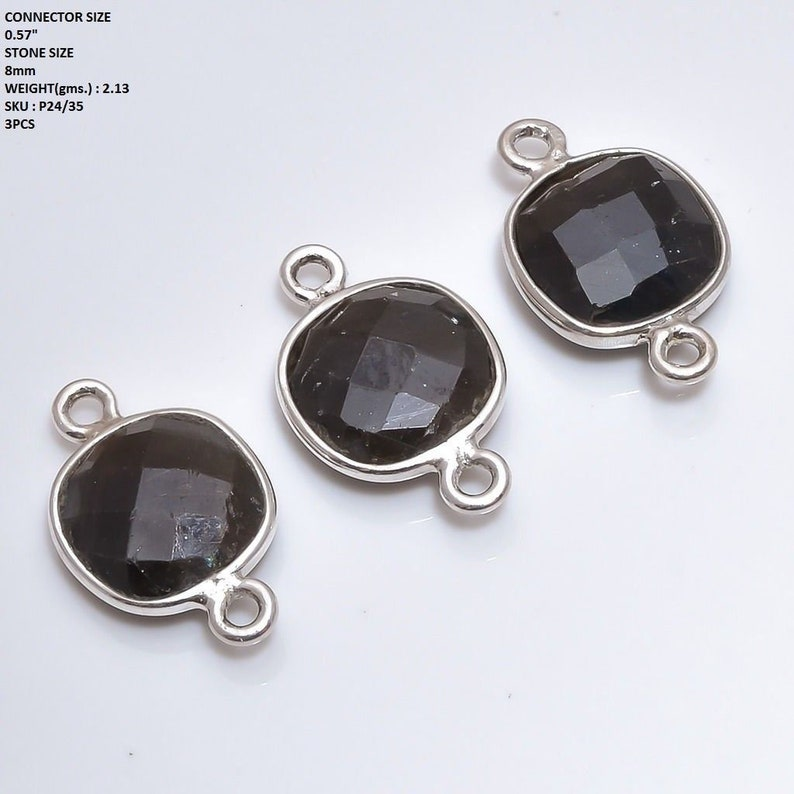 BLACK SAPPHIRE CONNECTOR 2.13gm Sterling Silver Natural Untreated Sapphire Gemstone Connector Cushion Briolette Checker Cut 0.57 Jewelry