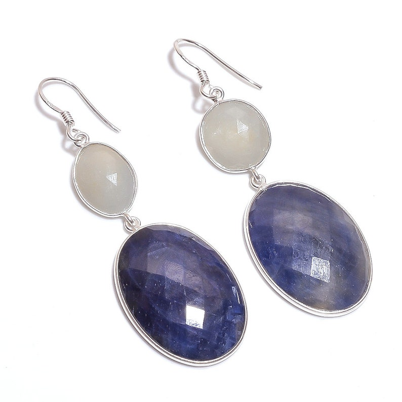 BLUE YELLOW Sapphire Gemstone Earring 925 Sterling Silver Natural Sapphire Rose Cut Oval Drop Dangle Hook 2.5 Fine Earrings Gift For Her