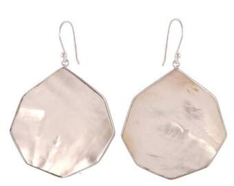925 Sterling Silver Earring : White Mother Of Pearl Danglers, Hook Earring, Fancy Minimalist Earring Danglers, Fine Jewelry, Gift for HER