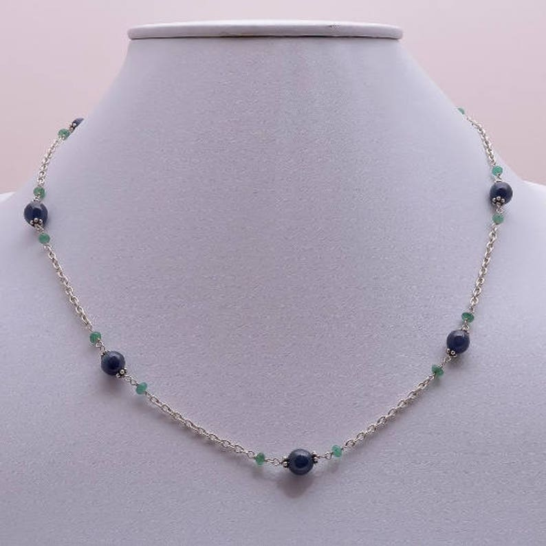 Gemstone Beads Necklace Natural Blue Sapphire Gemstone Round Ball With Emerald Beads 925 Sterling Silver Chain Necklace 18 Gift for HER