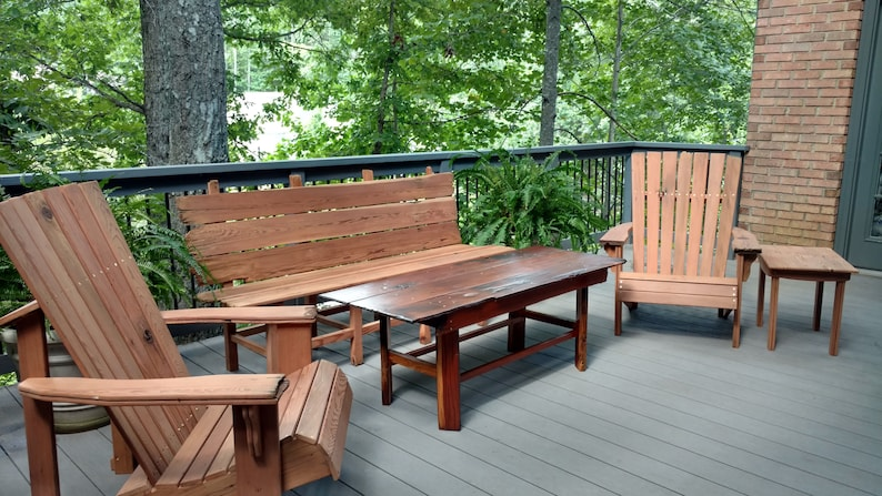 Hand Crafted 5 Piece Reclaimed Redwood Patio Furniture Set Etsy