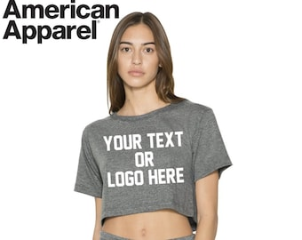 594e4294418ae2 Custom American Apparel Women s Crop Top Scrimmage T Shirt Logo Text  Customized Feminism Company