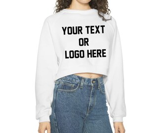 b1aa1f9d9cbe69 Custom Women s Long Sleeve Sweatshirt Crop Top American Apparel Your Logo  Text Customized Feminist Company