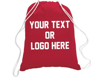 Custom Drawstring Book Bag Tote Your Text or Logo Make your Own beach  school event bag personalized full color graphic Summer Camp Backpack b0ff8c58b1bb5