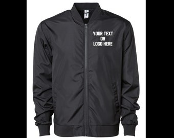 621b176a Custom Unisex Bomber Lightweight Jacket Varsity Your Text or Logo  Personalized, Company, Fraternity, University, College, Football, Clout