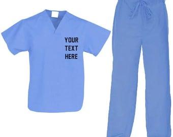 258669c9901 Custom Unisex V-Neck Top & Drawstring Pant Scrub Set Your Text or Logo