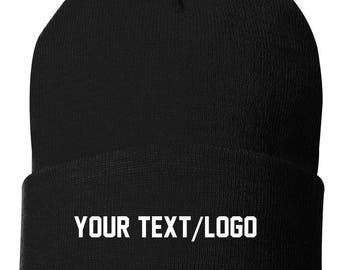 2cbef8bb391 Custom Beanie Knit Hat Your own Logo or Text Business Church Organization  School Team Unstructured Hat full color graphic