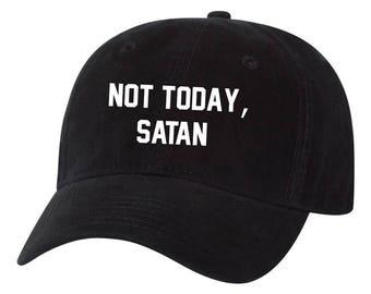 Not Today Satan Dad Hat Tumblr Unisex Adult Unstructured Hat d59b66b582ea