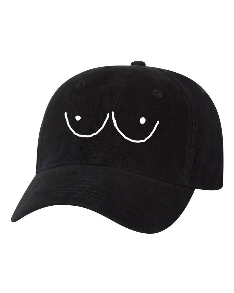 buy online f8d3a 0cfa3 Hand Drawn Boobs Eyes Tits Cartoon Dad Hat feminist   Etsy