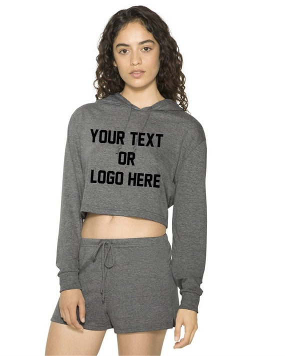 d04aaec5cb50e Custom Women's Hooded Long Sleeve Crop Top American Apparel Your Logo Text  Customized Feminist Company, Sorority, Greek Life, College letter