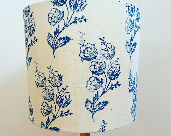 Handprinted China White Flowers Lampshade