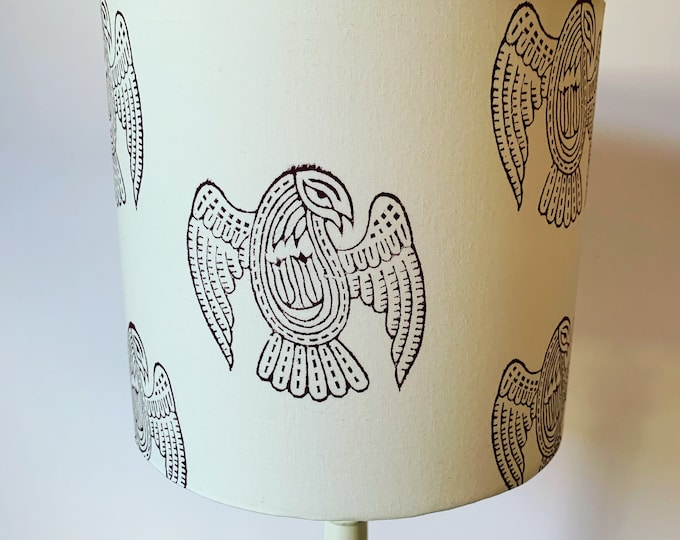Handprinted Bird Lampshade