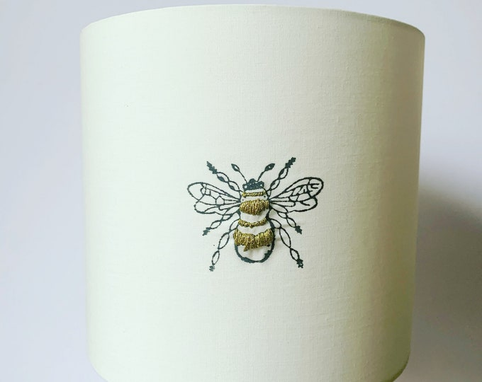 Embroidered Bumble Bee Lampshade