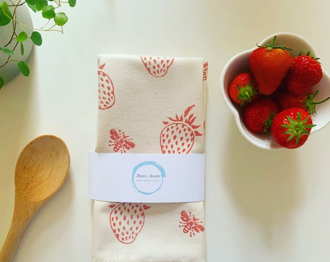 Strawberry Bee's Tea Towel