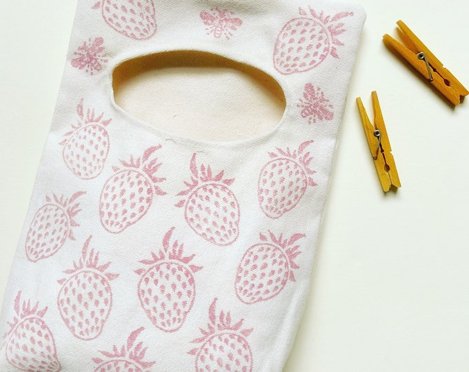 Handprinted Strawberry Bees Peg Bag