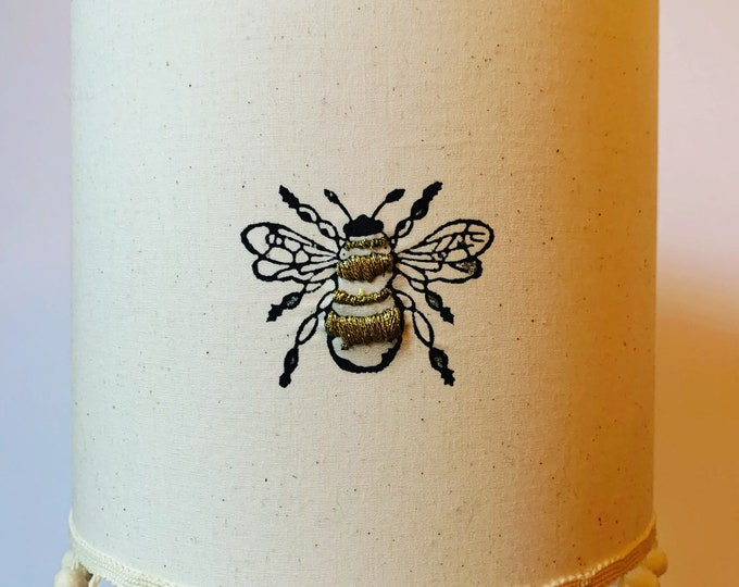 Pom Pom Embroidered Bumble Bee Lampshade