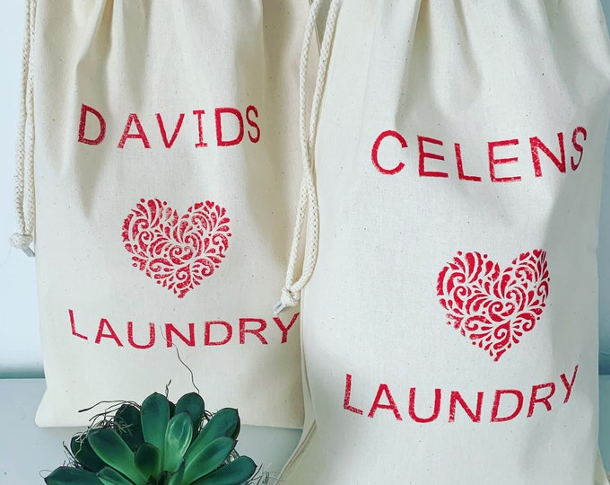Personalised Heart Laundry Bag