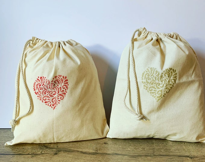 Handprinted Love Heart Lingerie Bag