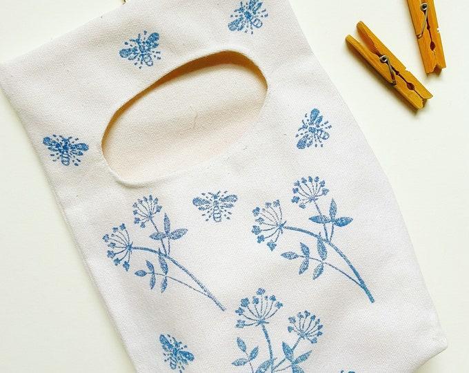 Handprinted Flora Peg Bag