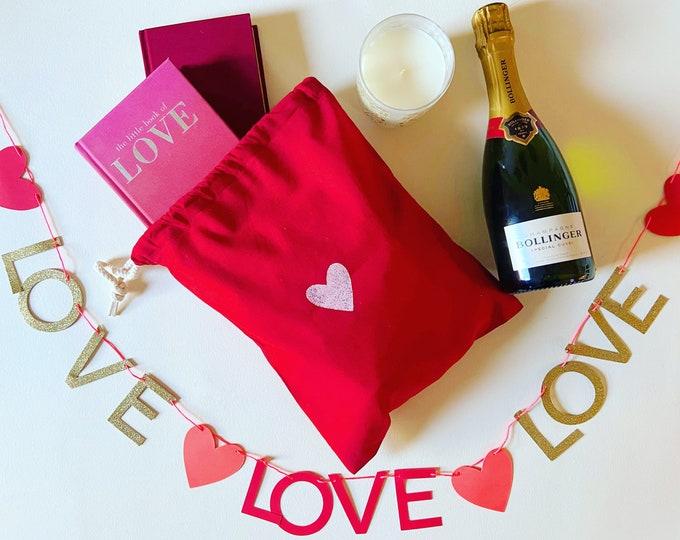 Handprinted Heart Gift Sack